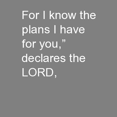 """For I know the plans I have for you,"""" declares the LORD,"""