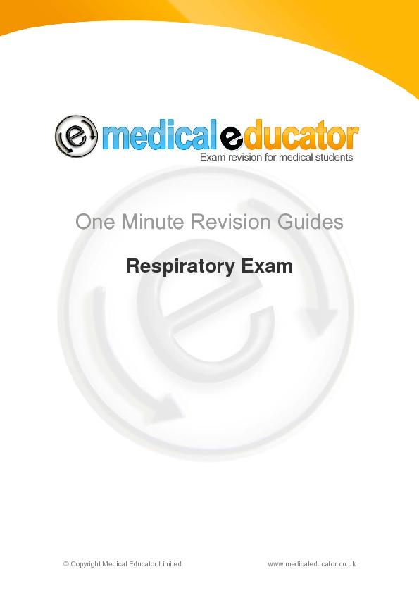 One minute revision guides respiratory exam PowerPoint PPT Presentation
