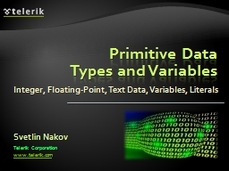 Primitive Data Types and Variables