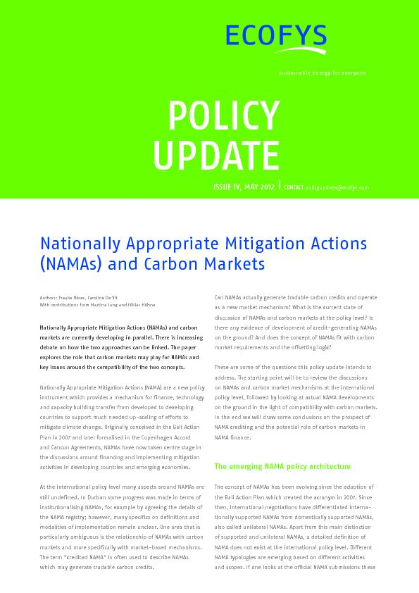 Nationally appropriate mitigation actions and carbon markets