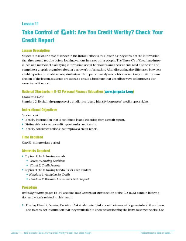 Take control of debt are you credit worthy check your credit report