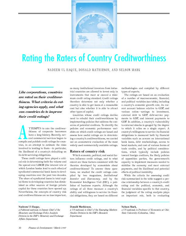 Rating the raters of country credit worthiness