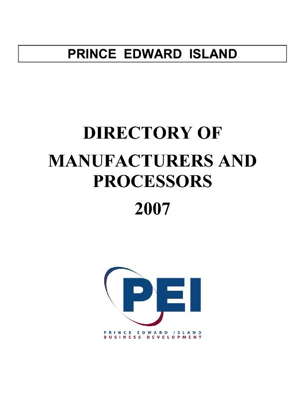 Directory of manufacturers and processors 2007 PDF document - DocSlides