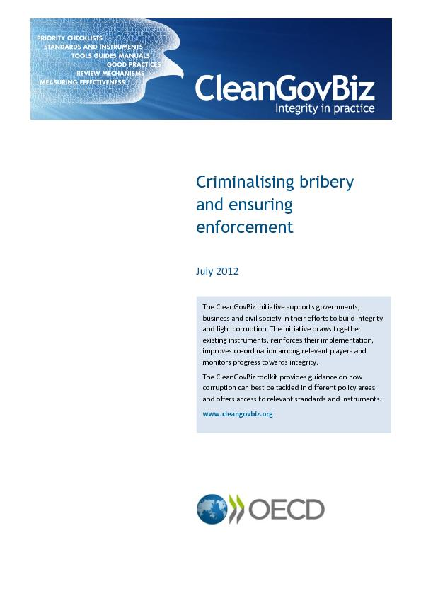Criminalising bribery and ensuring enforcement PowerPoint PPT Presentation