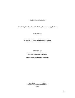 Criminological Theories: Introduction, Evaluation, ApplicationBy Ronal