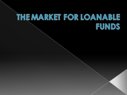 THE MARKET FOR LOANABLE FUNDS PowerPoint PPT Presentation