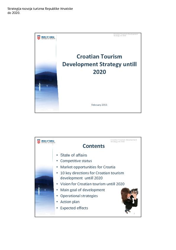 Croation tourism development strategy untill 2020