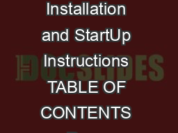 ZONECCZACHP Installation and StartUp Instructions TABLE OF CONTENTS Page SAFETY CONSIDERATIONS PowerPoint PPT Presentation