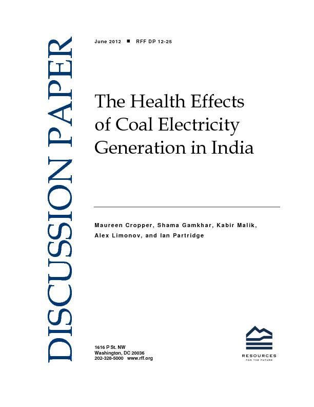 The health effects of coal electricity generation in India