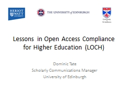 Lessons in Open Access Compliance for Higher Education (LOC