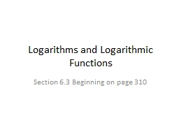 Logarithms and Logarithmic Functions
