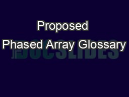 Proposed Phased Array Glossary