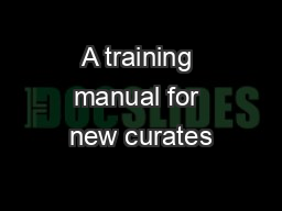A training manual for new curates