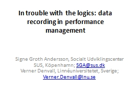 In trouble with the logics: data recording in performance m