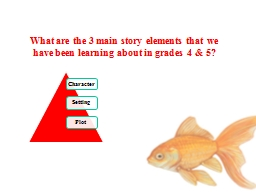What are the 3 main story elements that we have been learni
