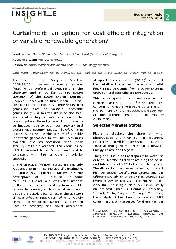 An option for cost efficient integration of variable renewable generation
