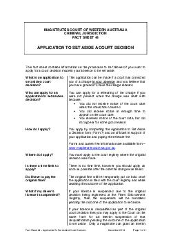 Fact Sheet   Application to set aside a court de cision as at  January  Page  of PDF document - DocSlides