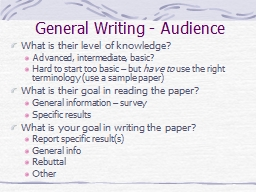 General Writing - Audience