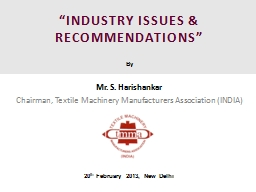 """""""INDUSTRY ISSUES & RECOMMENDATIONS"""""""