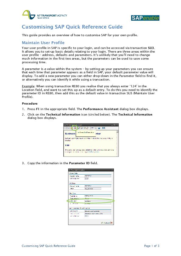 Customising SAP quick reference guide