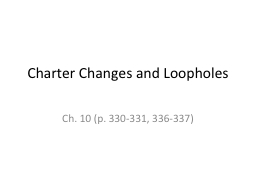 Charter Changes and Loopholes