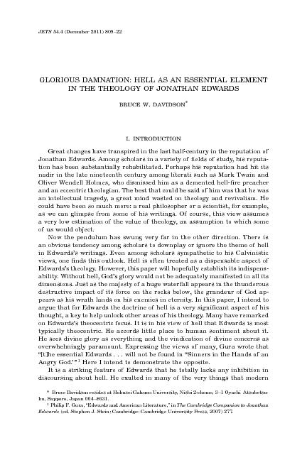 Hell as an essential element in the theology of Jonathan edwards