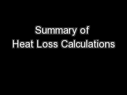 Summary of Heat Loss Calculations