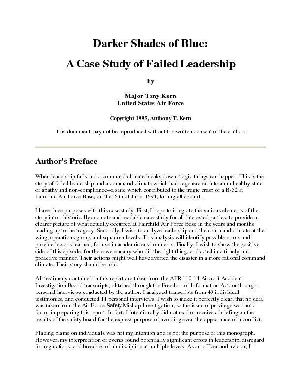 A case study of failed leadership