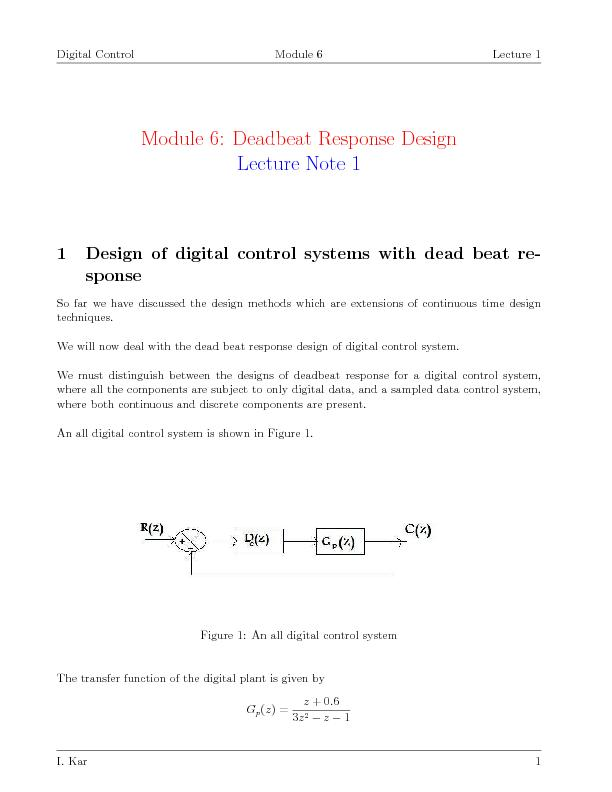 Design of digital control systems with dead beat response