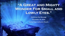 """A Great and Mighty Wonder For Small and Lowly Eyes."""