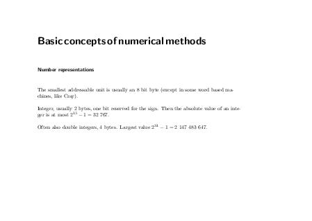 Basicconceptsofnumericalmethods Number representations The smallest addressable unit is usually an  bit byte except in some word based machi nes like Cray