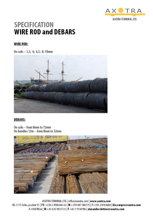 SPECIFICATION WIRE ROD AND DEBARS