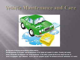 Vehicle Maintenance and Care PowerPoint PPT Presentation