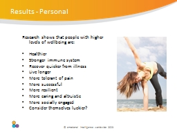 Research shows that people with higher levels of wellbeing PowerPoint PPT Presentation
