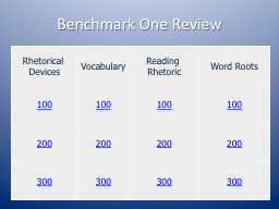 Benchmark One Review