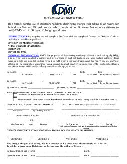 This form is for the use of Delaware residents desiring to change their address PDF document - DocSlides