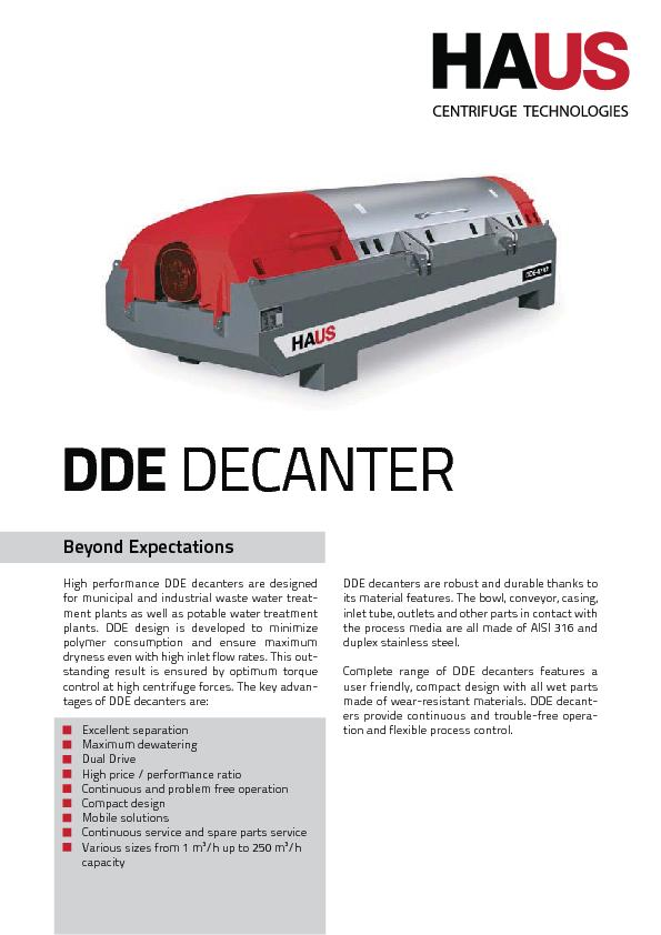 High performance DDE decanters are designed for municipal and industri