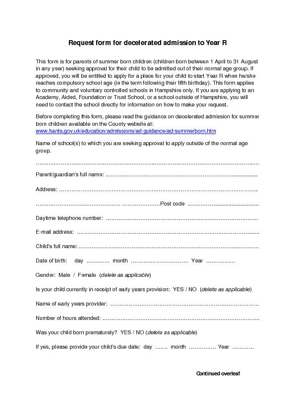 Request form for decelerated admission to year R