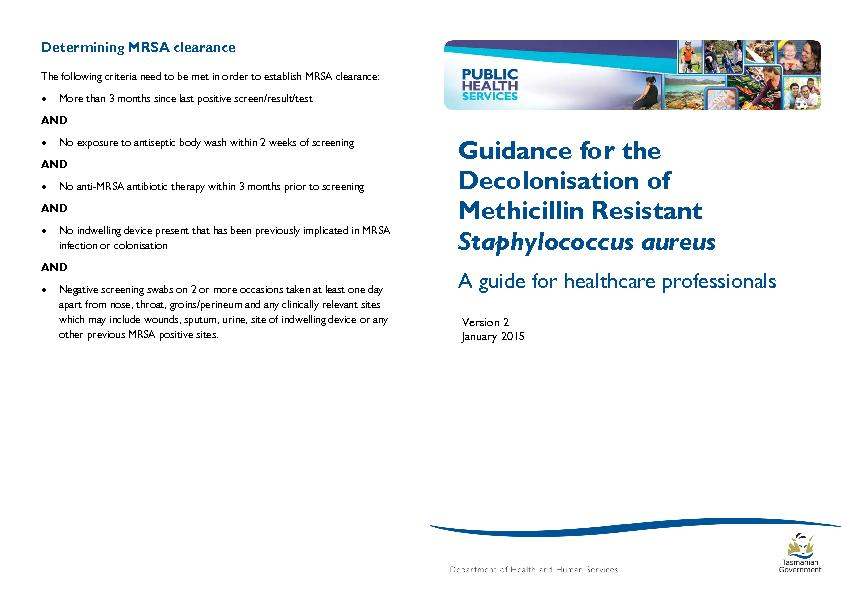 Guidance for the Decolonisation of Methicillin Resistant Staphylococcus aureus