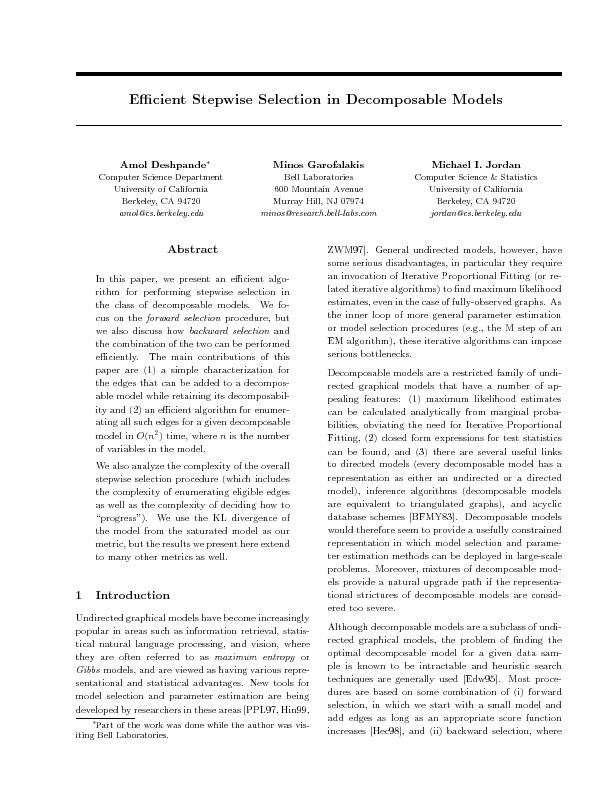 Ecient Stepwise Selection in Decomposable Models