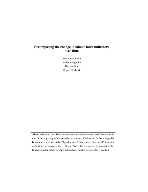 Decomposing the change in labour force indicators over time