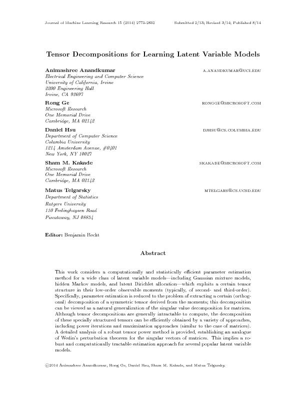 Tensor decompositions for learning latest variable models
