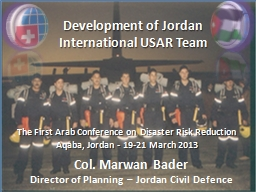 Development of Jordan International USAR Team PowerPoint PPT Presentation