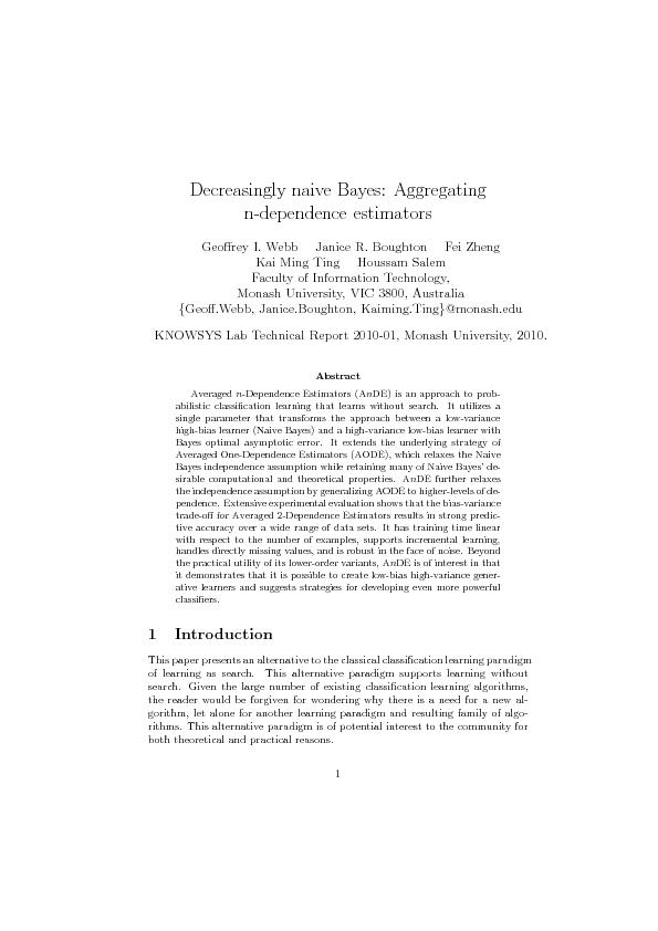 Decreasingly naive Bayes Aggregating n-dependence estimators