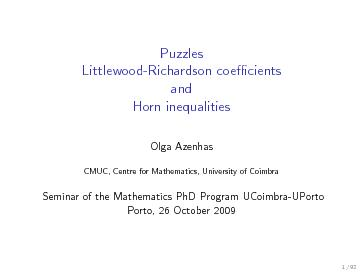 Puzzles Littlewood-Richardson coefficients and horn inequalities
