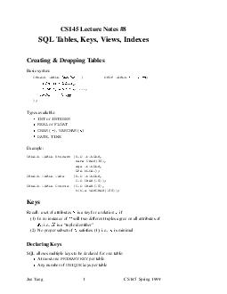 CS Lectur Notes  SQL ables eys iews Indexes Cr eating Dr opping ables Basic syntax CREATE TABLE DROP TABLE