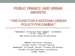 PUBLIC FINANCE AND URBAN GROWTH