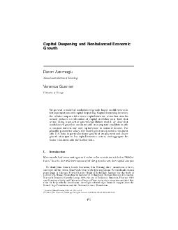 Capital deepening and non balanced economic growth