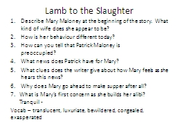 Lamb to the Slaughter PowerPoint PPT Presentation