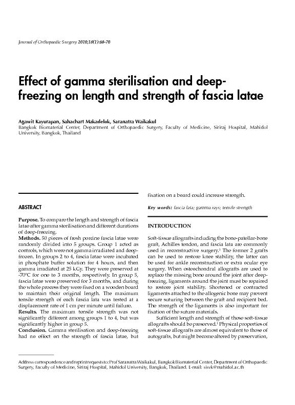 Effect of gamma sterilisation and deep freezing on length and strength of fascia latae